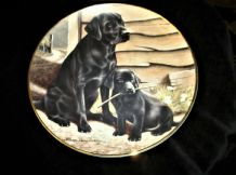 "FRANKLIN MINT GILDED DISPLAY PLATE LIKE FATHER LIKE SON BLACK LABRADOR 8"" LTD ED"